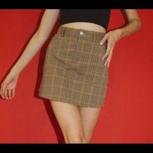 Brandy Melville brown checkered skirt